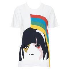 PRADA illustration face print bead embellished eye short sleeve t-shirt top M