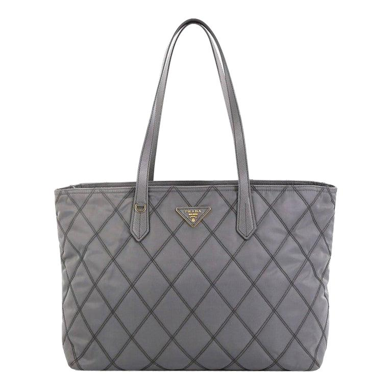 Prada Impunto Zip Tote Quilted Tessuto Large For Sale