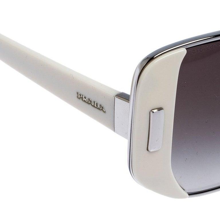 Prada Ivory/Black Gradient SPR 59S Square Sunglasses For Sale 3