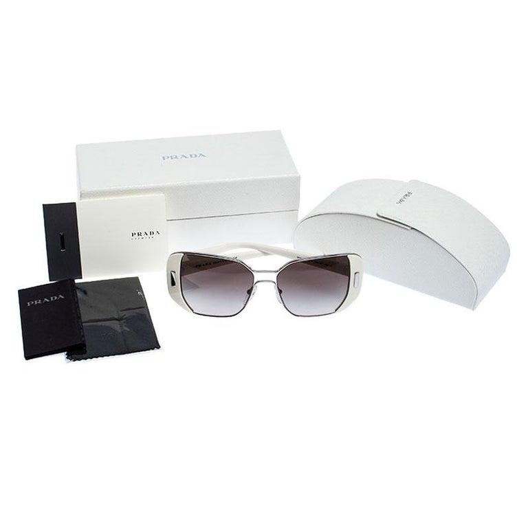 Prada Ivory/Black Gradient SPR 59S Square Sunglasses For Sale 4