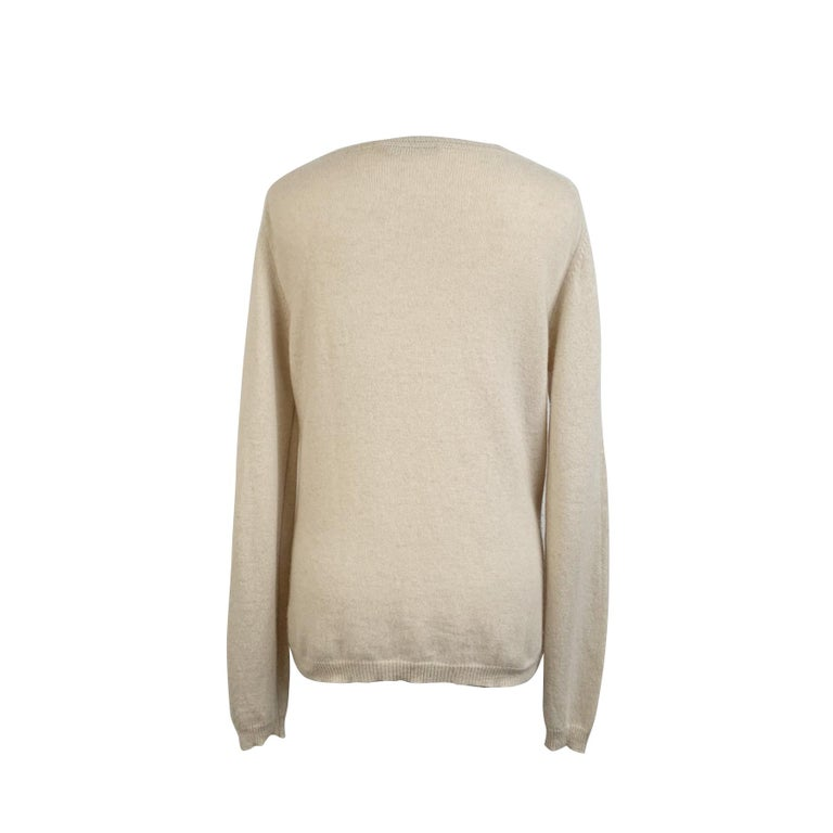 Beige Prada Ivory Cashmere Long Sleeve Jumper Sweater Size 46 For Sale