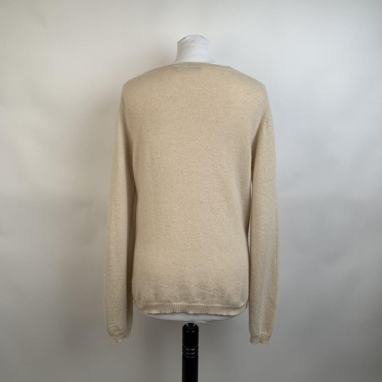 Prada Ivory Cashmere Long Sleeve Jumper Sweater Size 46 In Excellent Condition For Sale In Rome, Rome