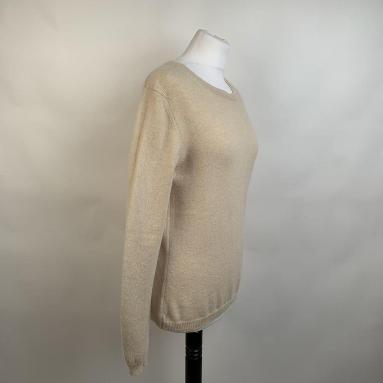 Women's Prada Ivory Cashmere Long Sleeve Jumper Sweater Size 46 For Sale