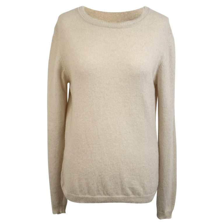Prada Ivory Cashmere Long Sleeve Jumper Sweater Size 46 For Sale
