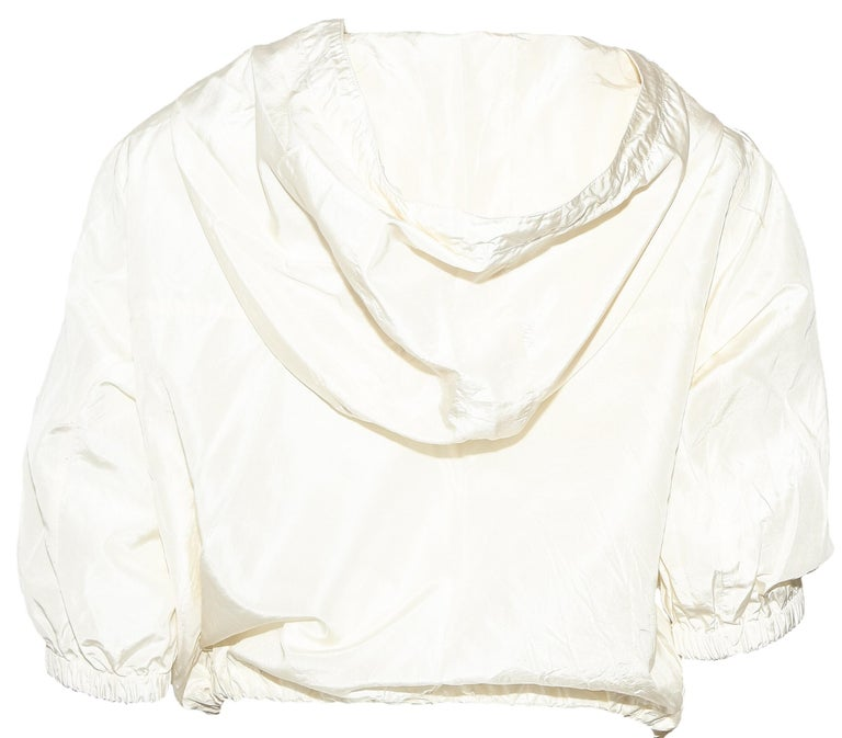 White Prada Ivory Silk Blend Bomber Jacket With Hoodie & Gold Tone Zipper 42 EU For Sale