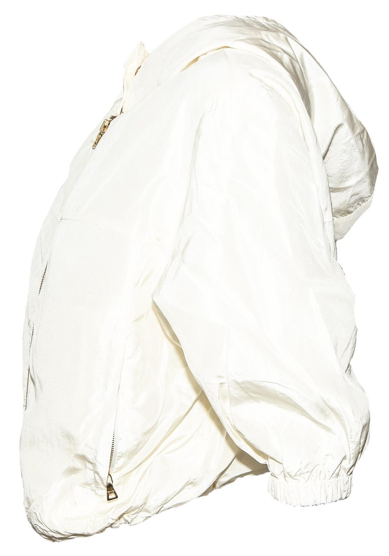 Prada Ivory Silk Blend Bomber Jacket With Hoodie & Gold Tone Zipper 42 EU In Excellent Condition For Sale In Palm Beach, FL