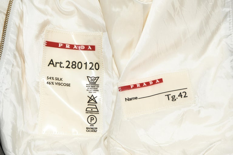 Women's Prada Ivory Silk Blend Bomber Jacket With Hoodie & Gold Tone Zipper 42 EU For Sale