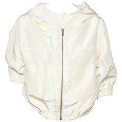 Prada Ivory Silk Blend Bomber Jacket With Hoodie & Gold Tone Zipper At Front