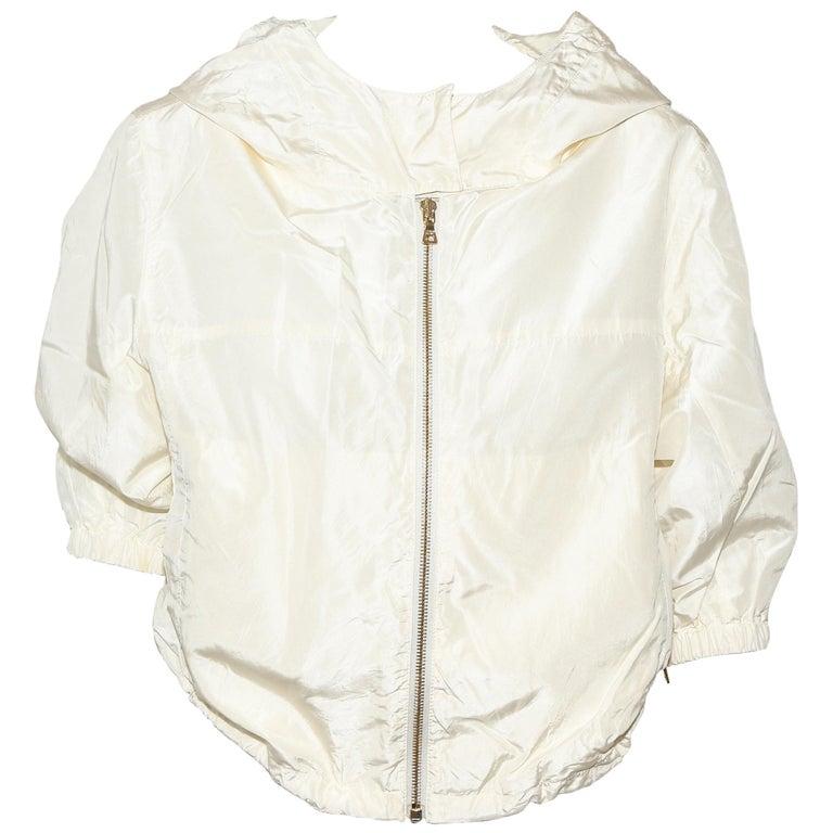Prada Ivory Silk Blend Bomber Jacket With Hoodie & Gold Tone Zipper 42 EU For Sale