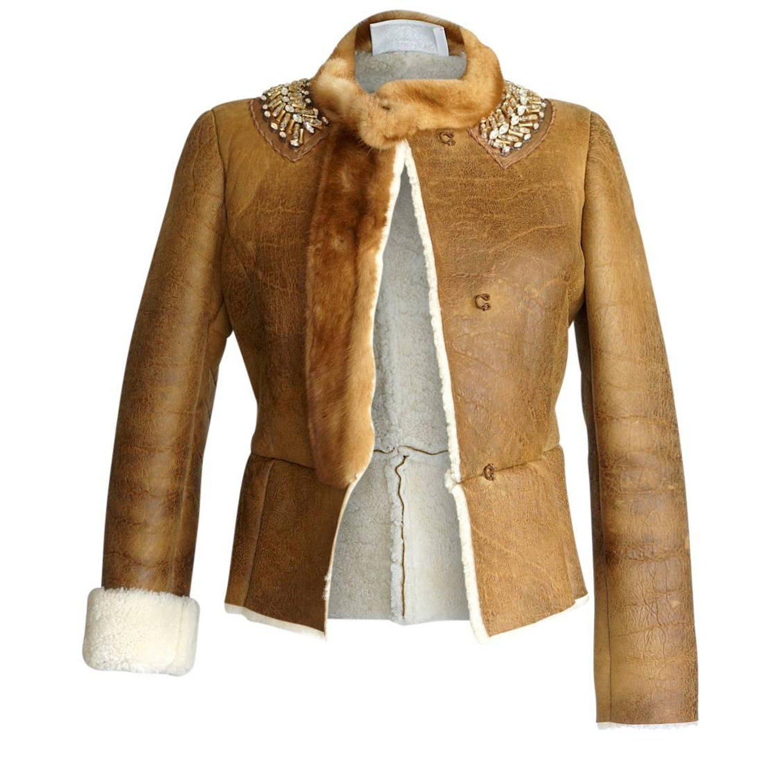f3a9942f8 Prada Jacket Distressed Shearling Mink Trim and Jeweled Collar 40 / 6 For  Sale at 1stdibs