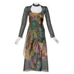Prada James Jean Fairy Runway Black Printed Silk Dress, 2008