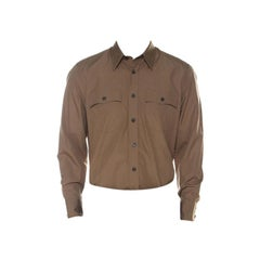 Prada Khaki-Beige Cotton Poplin Safari Style Full Sleeve Shirt L