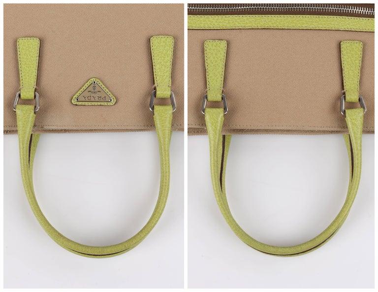 8122179e7cb2 PRADA Khaki Canapa Canvas & Chartreuse Green Leather Tote Bag Purse For  Sale 3