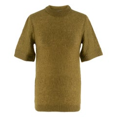 Prada Khaki Semi Sheer Mohair Blend Knit Top - Size US 4