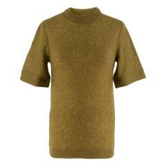 Prada Khaki Semi Sheer Mohair Blend Knit Top - Size US 4