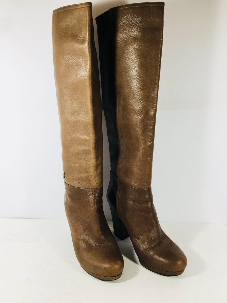 Brown Prada Knee High Leather Boots For Sale