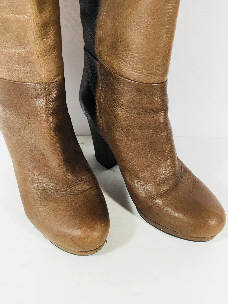 Prada Knee High Leather Boots In Excellent Condition For Sale In Southampton, NY