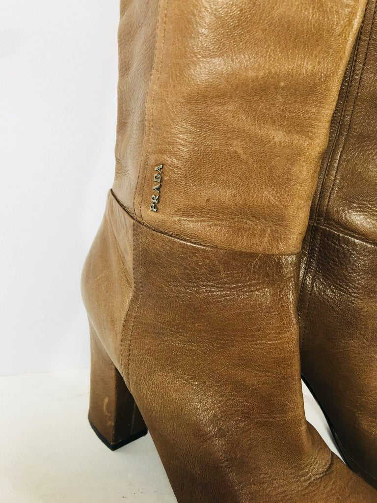 Women's Prada Knee High Leather Boots For Sale