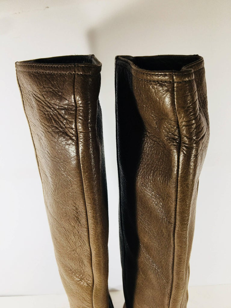Prada Knee High Leather Boots For Sale 2