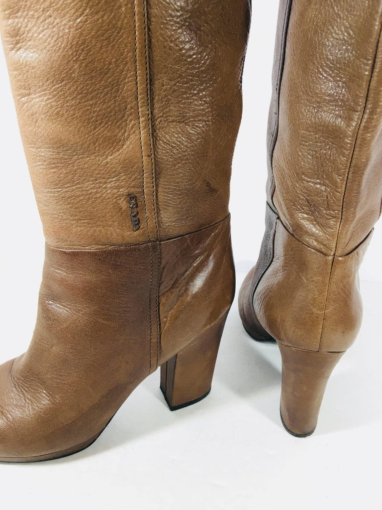 Prada Knee High Leather Boots For Sale 3