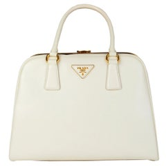 PRADA Larice white Saffiano Vernic leather BL808F Top Handle Bag