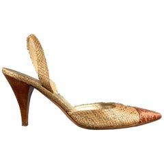 PRADA Lauren Size 9.5 Gold & Cognac Alligator Slingback Sandals