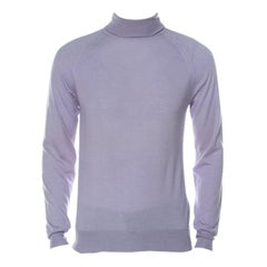 Prada Lavender Cashmere Silk Raglan Sleeve Turtleneck Sweater L