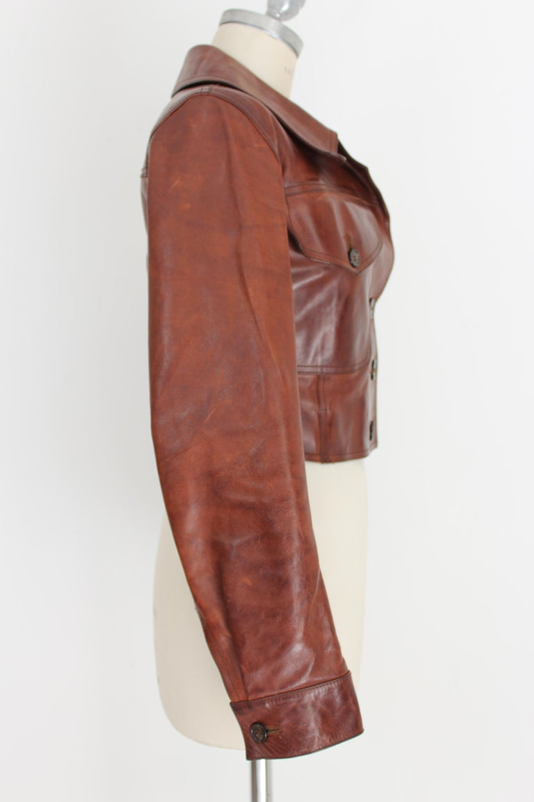 Prada Leather Cropped Jacket Brown Short Waist Bikers Model 2000s In Excellent Condition For Sale In Brindisi, Bt