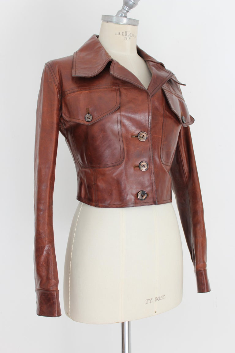 Women's Prada Leather Cropped Jacket Brown Short Waist Bikers Model 2000s For Sale