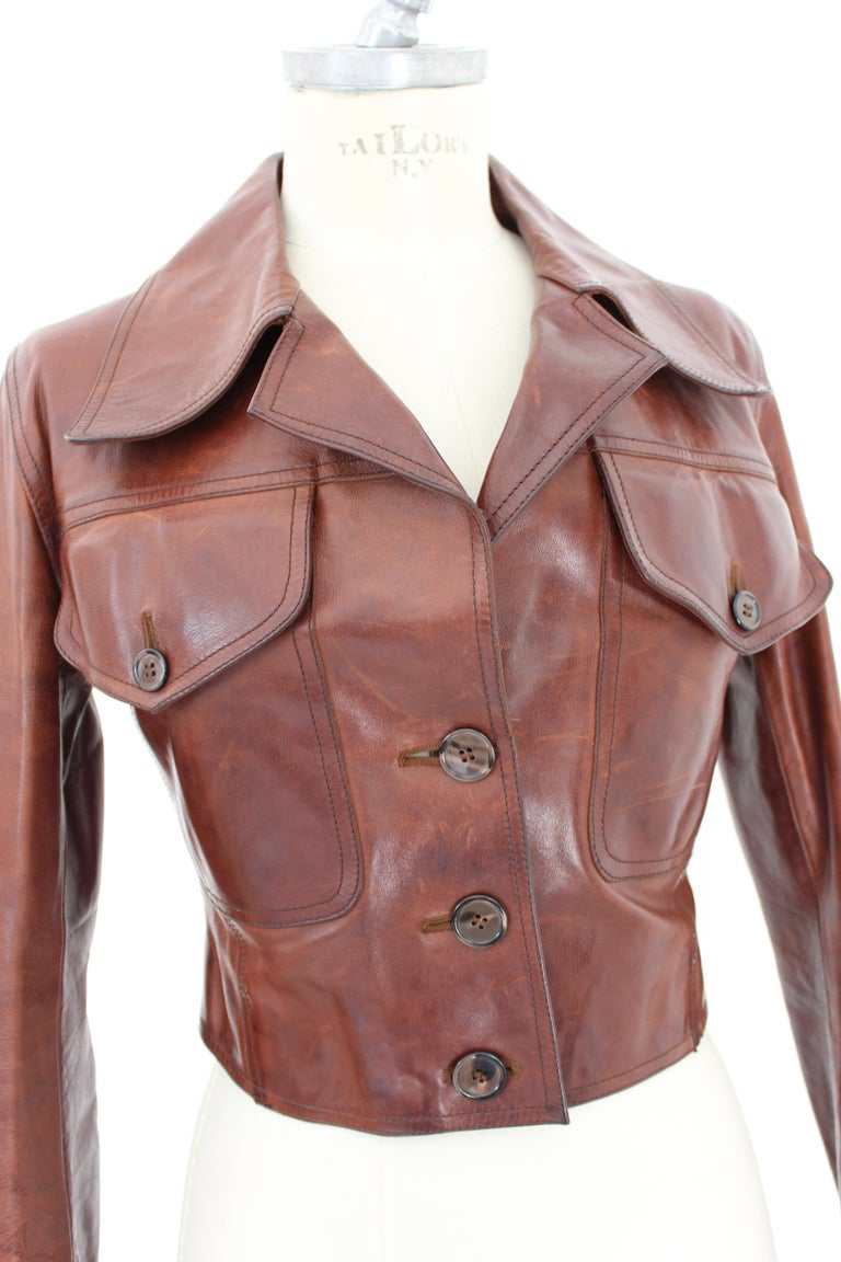 Prada Leather Cropped Jacket Brown Short Waist Bikers Model 2000s For Sale 1