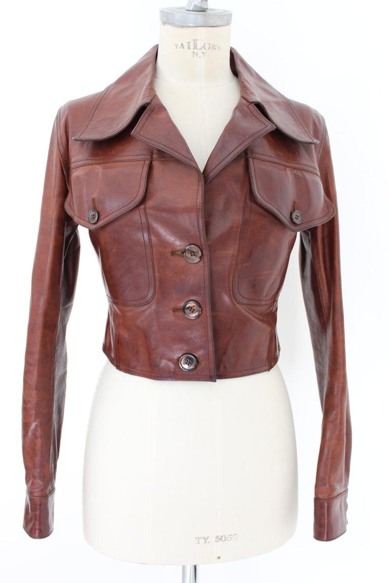 Prada Leather Cropped Jacket Brown Short Waist Bikers Model 2000s For Sale 2