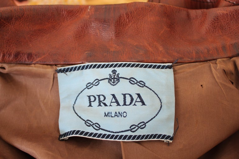 Prada Leather Cropped Jacket Brown Short Waist Bikers Model 2000s For Sale 3