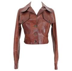 Prada Leather Cropped Jacket Brown Short Waist Bikers Model 2000s