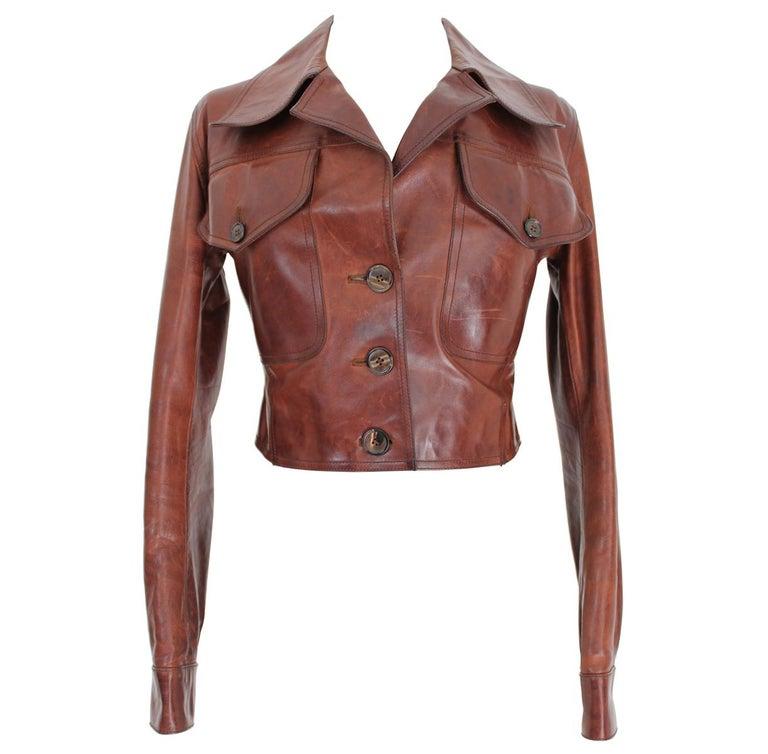Prada Leather Cropped Jacket Brown Short Waist Bikers Model 2000s For Sale