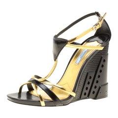 Prada  Leather Retro Futuristic Ankle Strap Geometric Wedge Sandals Size 40