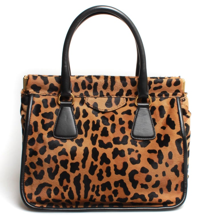 Black PRADA Leopard Print Handbag For Sale