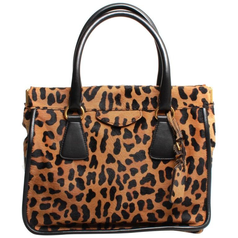 PRADA Leopard Print Handbag For Sale