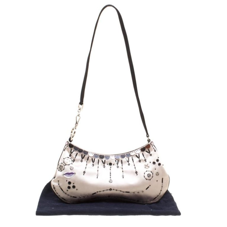 Prada Light Beige Satin Embroidered Shoulder Bag For Sale 7