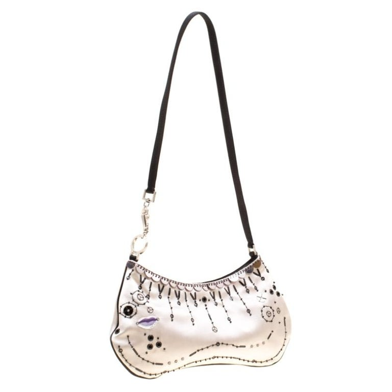 Women's Prada Light Beige Satin Embroidered Shoulder Bag For Sale