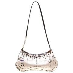 Prada Light Beige Satin Embroidered Shoulder Bag