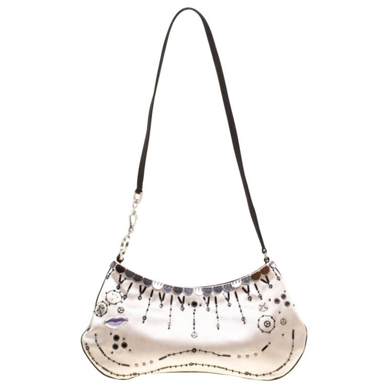 Prada Light Beige Satin Embroidered Shoulder Bag For Sale
