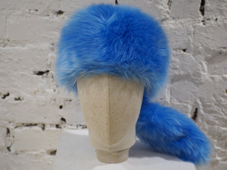 Prada light blue faux fox fur hat NWOT still with box