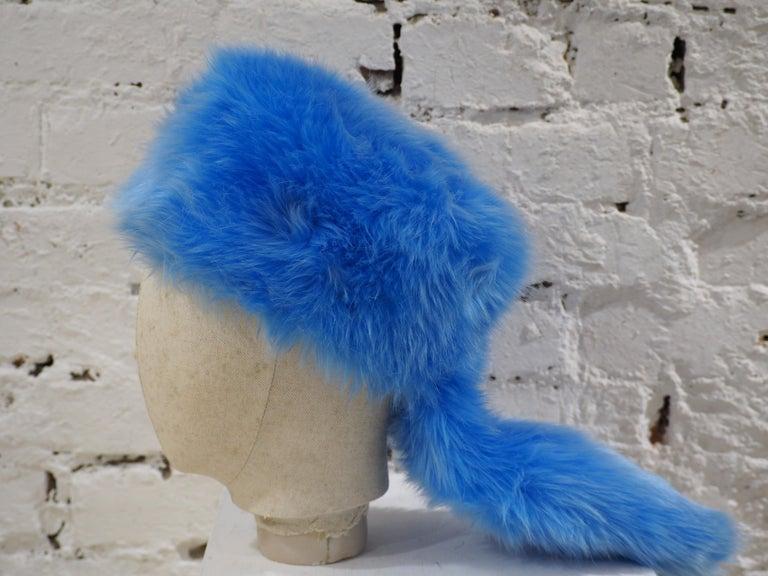 Prada light blue faux fox fur hat NWOT In New Condition For Sale In Capri, IT