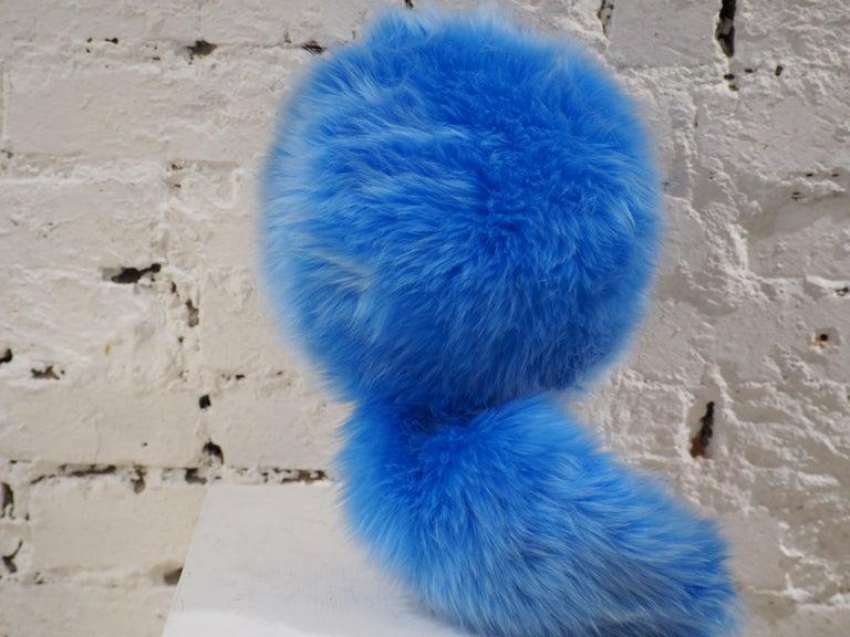 Women's or Men's Prada light blue faux fox fur hat NWOT For Sale