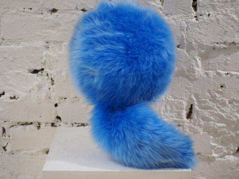 Prada light blue faux fox fur hat NWOT For Sale 1