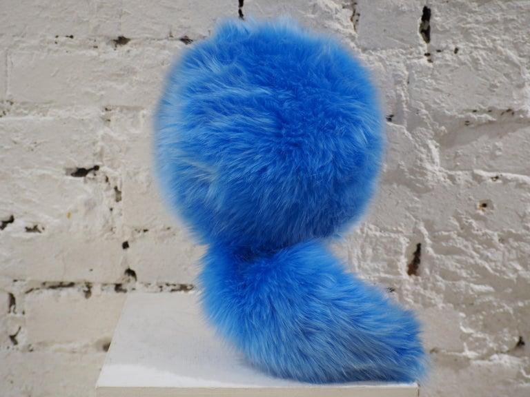 Prada light blue faux fox fur hat NWOT For Sale 2