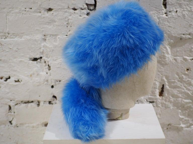Prada light blue faux fox fur hat NWOT For Sale 3