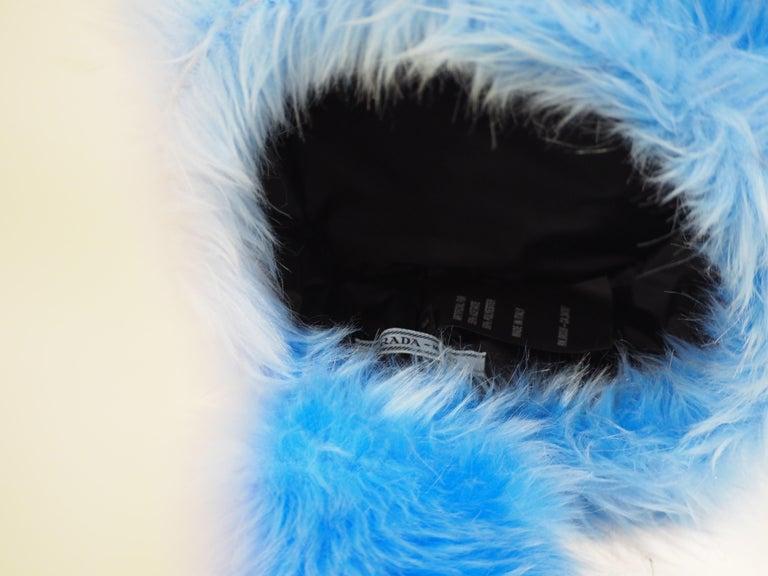 Prada light blue faux fox fur hat NWOT For Sale 4