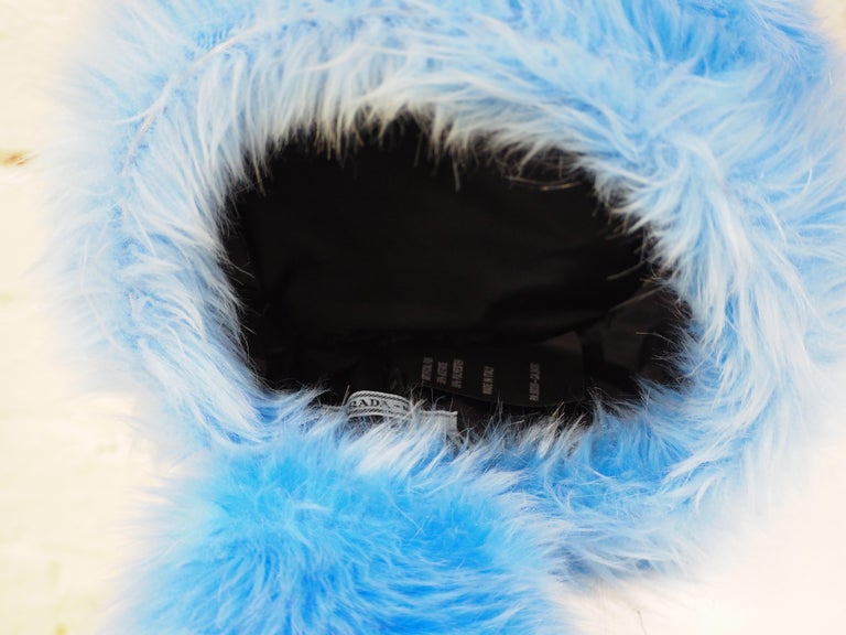 Prada light blue faux fox fur hat NWOT For Sale 5