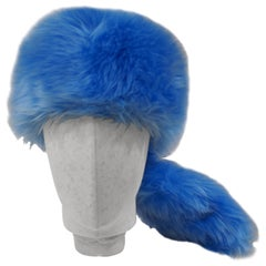 Prada light blue faux fox fur hat NWOT